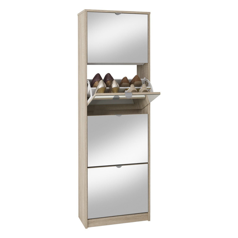 Schuhschrank penny 5 sonoma eiche mit spiegel 405 005 for Schuhschrank hoch mit spiegel